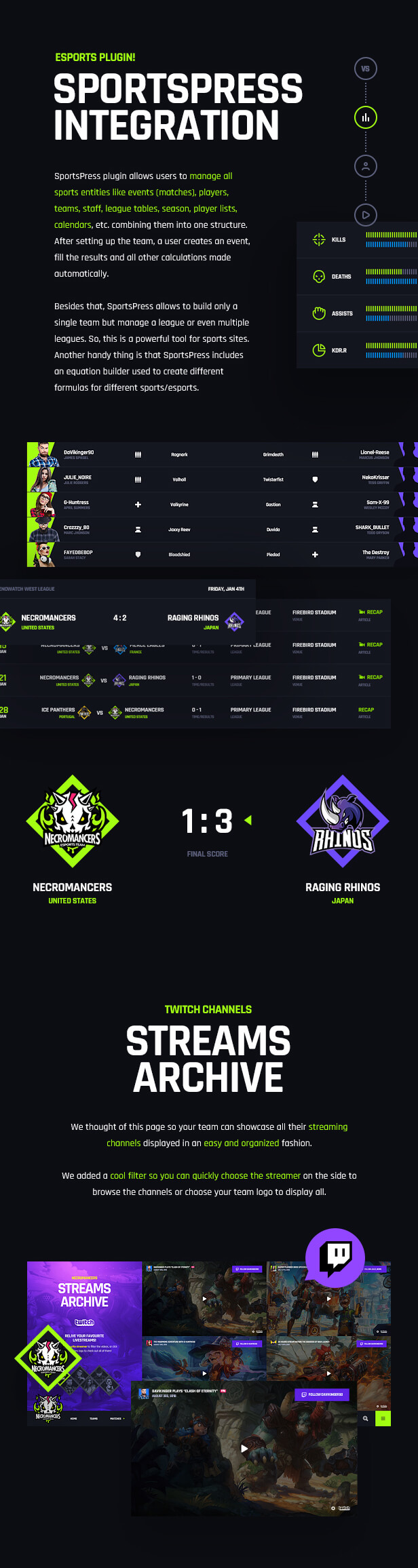 Necromancers - eSports & Gaming Team WordPress Theme - SportsPress