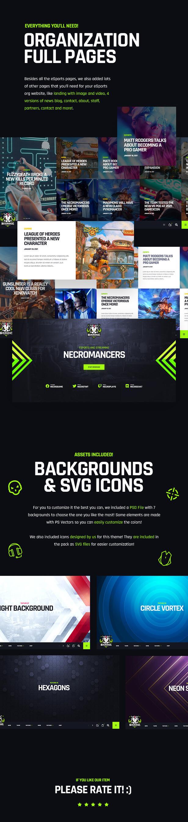 Necromancers - eSports & Gaming Team WordPress Theme - Features